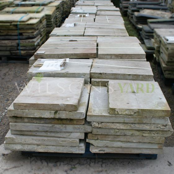 Reclaimed six sided Yorkstone paving