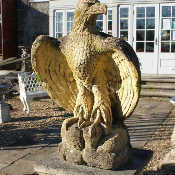 Antique style stone hawks