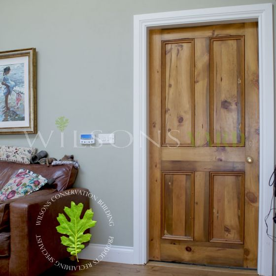 Traditional 4 Panel Reclaimed Pine Door – Toffee Brown Wax