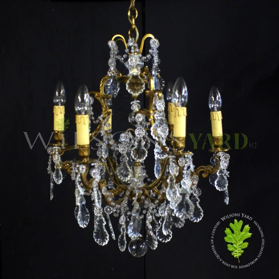 reclaimed bronze and crystal chandelier