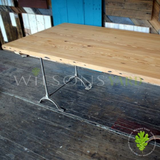 Salvaged pitch pine kitchen table.