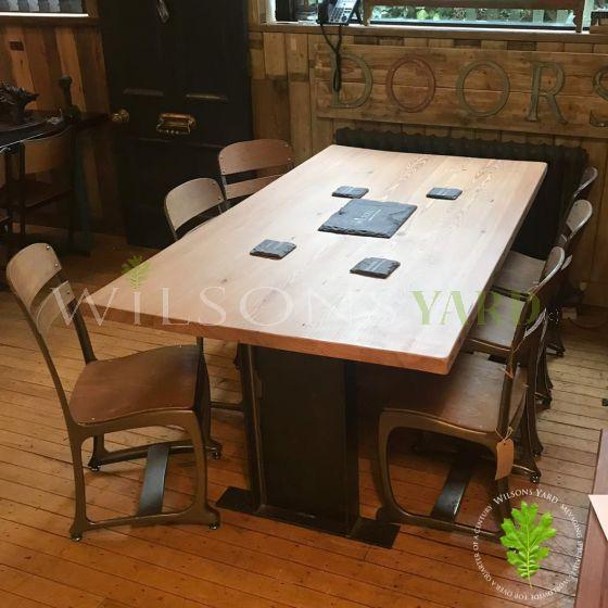 Bespoke table reclaimed wood metal legs
