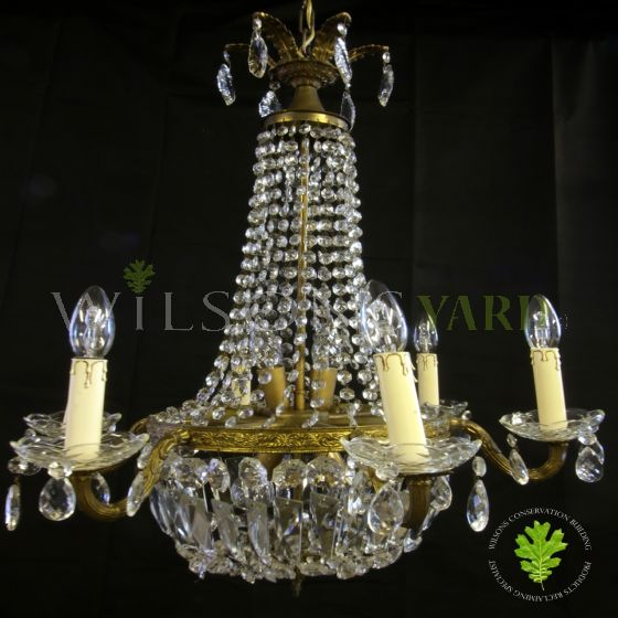 Restored antique Sac de pearl chandelier