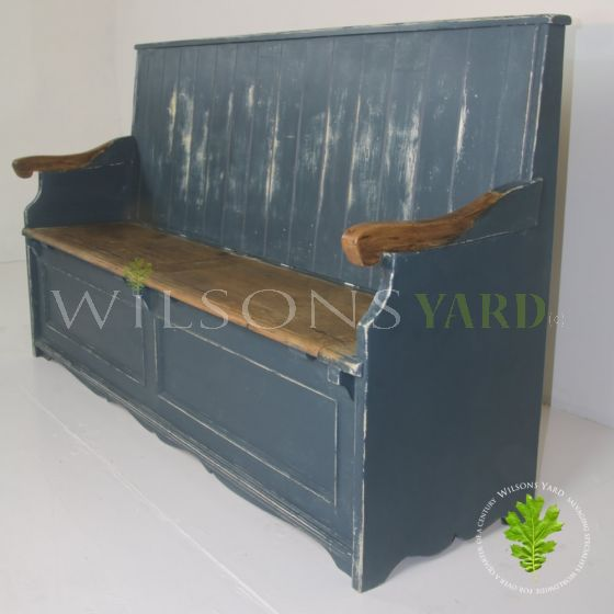 Vintage distressed bacon settle