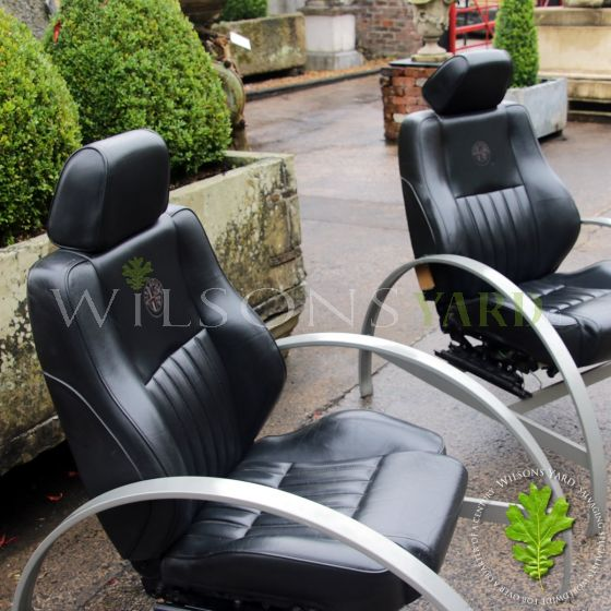 Retro car seats converted into armchairs