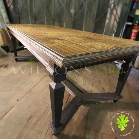 Large Dark Oak plank topped table with refectory base