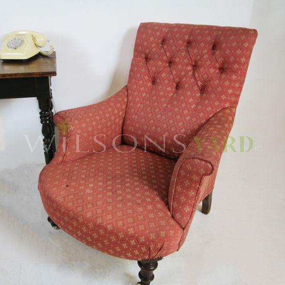 Antique fabric parlour chair