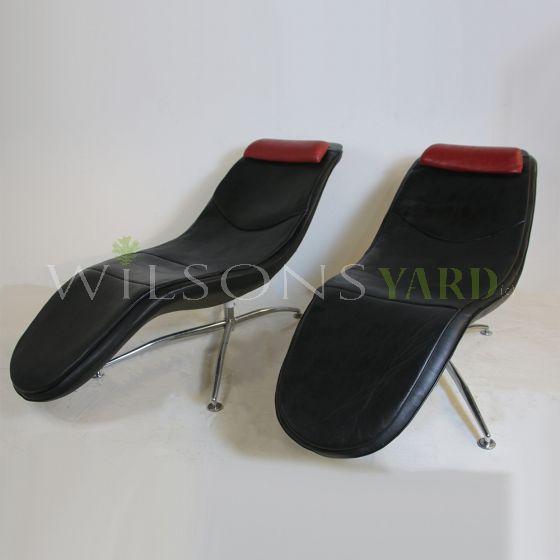 Vintage leather black recliners