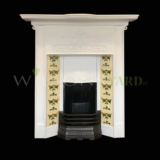 Vintage Art Nouveau cast iron fireplace