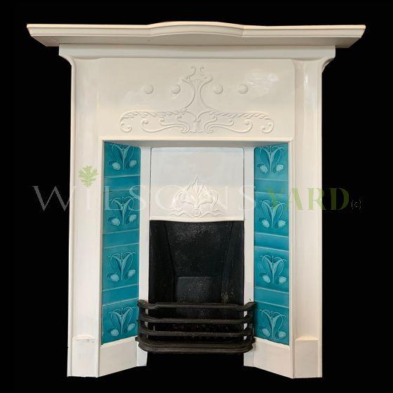 Vintage Art Nouveau cast iron fireplace