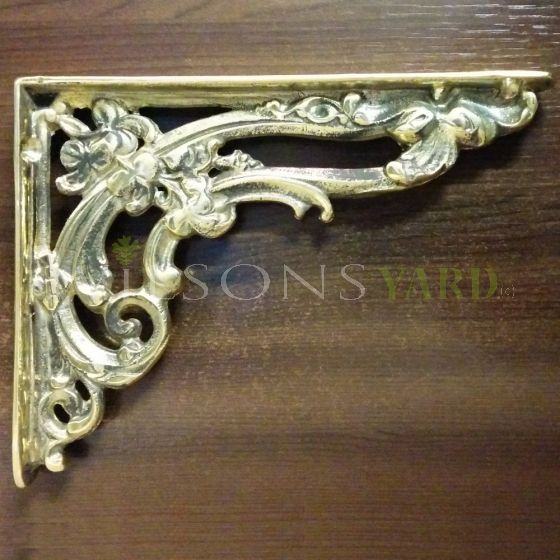Pair of Brass Small Scroll Brackets