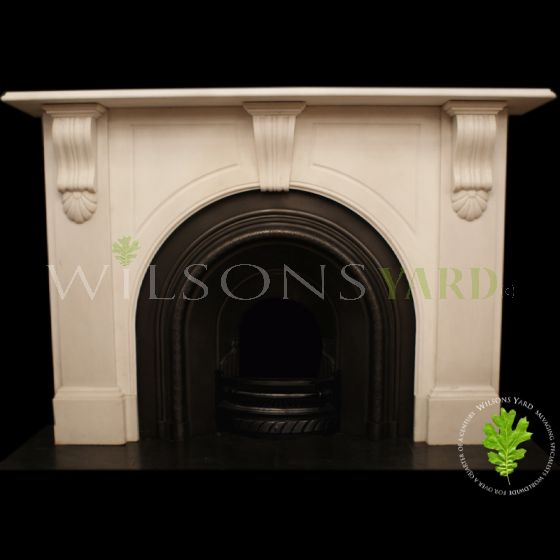 Stunning Irish 19th century statuary white marble fireplace