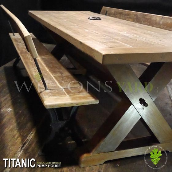 Titanic pump house Belfast reclaimed wooden table.