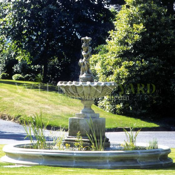 period style stone water garden fountain