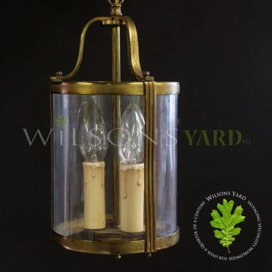 Pair of Antique French Gilded Brass Triple Light Hall Lanterns