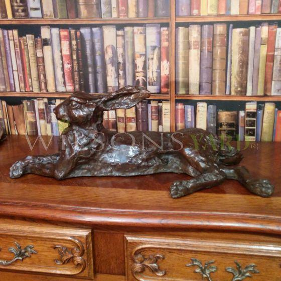 Bronze Resting Hare Sculpture