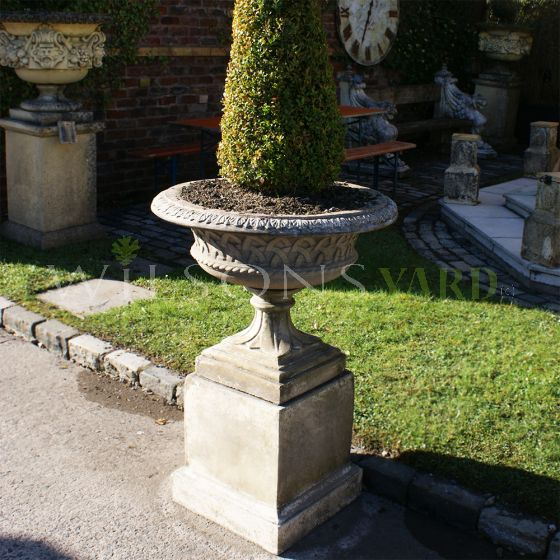 The Triton Collection - Lattice Weave Urn on Regency Pedestal