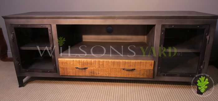 Beautiful and Nicely Finished Metal and Wood Media/Entertainment Unit