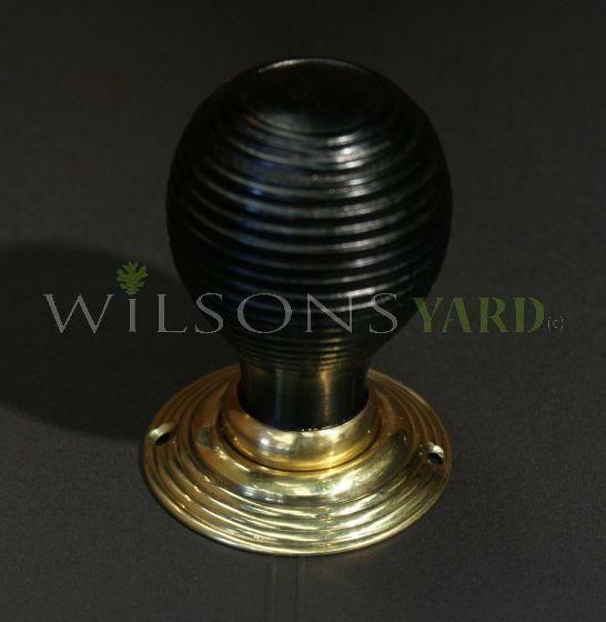 Ebonized Beech Beehive Door Handle / Door Knob with Brass Back Plate