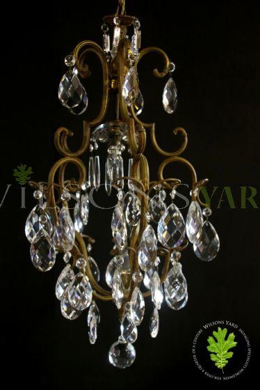 1 Light Bronze & Crystal Chandelier
