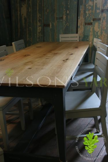 Oak Topped Table With Stretcher Legged Base