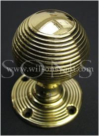 Solid Brass Beehive Door Handles / Door Knobs