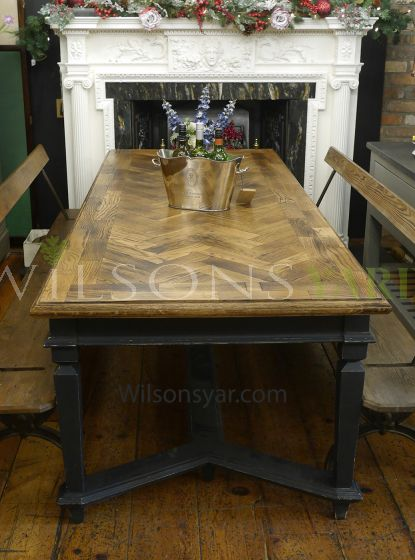 Restored parquet dining table