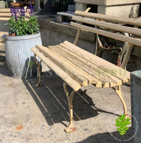 Original garden iron bench with wood